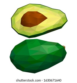 Avocado. Polygonal fruit - avocado. Polygonal fruit. Low poly style. Avocado isolated.