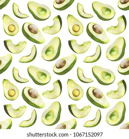 Avocado seamless pattern. Fresh and tasty avocado isolated on white background. For design, print, textile and more