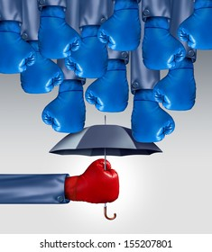 Avoid Competition business concept as a group of blue boxing gloves raining down on a red glove boxer protected by an umbrella as an icon of competitive advantage leadership avoiding risk adversity.