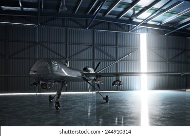 Awaiting flight. Lone drone U.A.V aircraft awaiting a military mission in a hangar. 3d model scene.