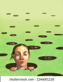 awakening from a field full of round holes it sprouts the curious face of a girl surrealism acrylic illustration dream a future metaphor of life book cover