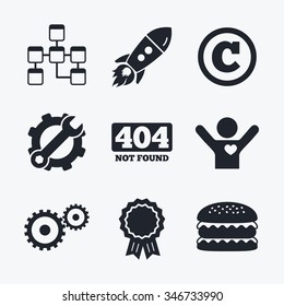 Award achievement, spanner and cog, startup rocket and burger. Website database icon. Copyrights and gear signs. 404 page not found symbol. Under construction. Flat icons.