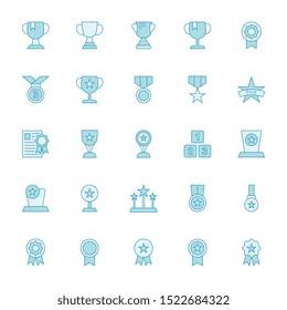 Award - Filled blue outline icons set