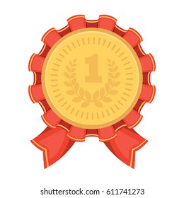 The award for first place.Gold medal with the red ribbon of the winner Olympics.Awards and trophies single icon in cartoon style bitmap symbol stock illustration.