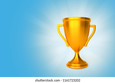 Award gold cup winner on blue background with shining rays. 3d render