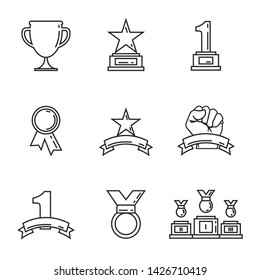Award icon golden cups for winners. Sport trophy. Linear style