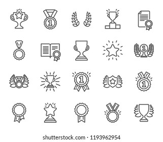 Award line icons. Set of Winner medal, Victory cup and Laurel award wreath signs. Reward, Certificate and Diploma message symbols. Glory shield, Prize and Rank star. Quality design element.