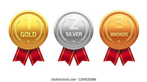 Award medal gold silver and bronze. Champion metal ward for winner. achievement.