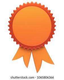 Award ribbon blank golden reward medal rosette. Best badge winner template design element empty. 3d illustration isolated on white