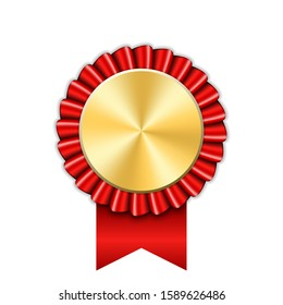 Award ribbon gold icon. Golden red medal design isolated on white background. Symbol of winner celebration, best champion achievement, success trophy seal. Blank rosette element illustration