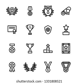 Award Signs Black Thin Line Icon Set Include of Trophy, Medal, Cup, Star, Badge and Ribbon. illustration of Icons
