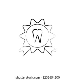 award, tooth icon. Element of dantist for mobile concept and web apps illustration. Hand drawn icon for website design and development, app development
