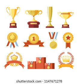 Awards cups, winner medals or champion ribbons  isolated icons set