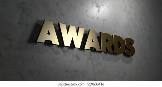 Awards - Gold sign mounted on glossy marble wall  - 3D rendered royalty free stock illustration. This image can be used for an online website banner ad or a print postcard.