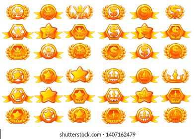 Awards large set, creating icons for mobile games. Mobile App Icons different forms and Laurel wreath of victory. Similar JPG copy