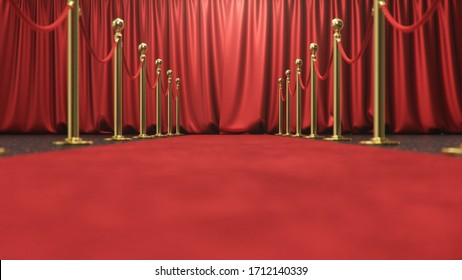 Awards show background with closed red curtains. Red velvet carpet between golden barriers connected by a red rope. Curtains theater stage, 3d Rendering