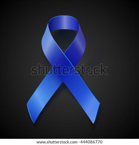 awareness blue ribbon isolated on black background