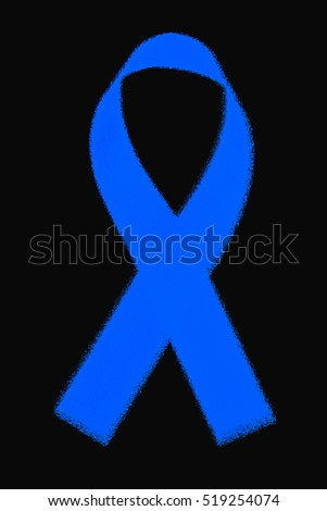 awareness blue ribbon on black background
