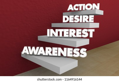 Awareness Interest Desire Action Sales Funnel Steps Stages 3d Illustration