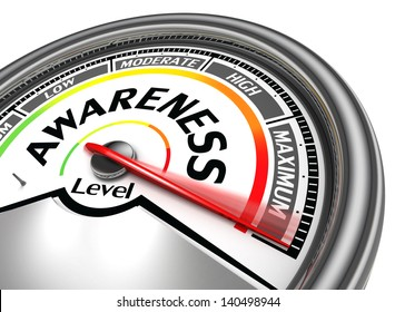 awareness level conceptual meter, isolated on white background