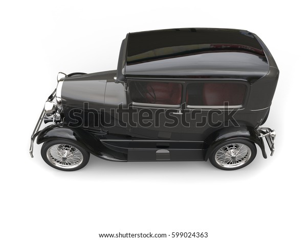 Awesome black vintage car - top down side view - 3D Render