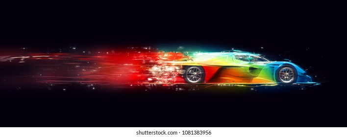 Awesome colorful super fast race car - cosmic trails effect - 3D Illustration