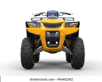 Awesome four - wheeler - front view closeup shot - 3D Render