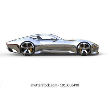 Awesome metallic modern super sports car - side view - 3D Illustration