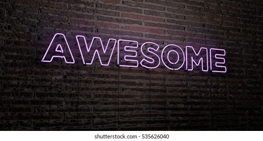 AWESOME -Realistic Neon Sign on Brick Wall background - 3D rendered royalty free stock image. Can be used for online banner ads and direct mailers.