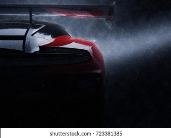 Awesome red race car - night shot in the rain - 3D Illustration
