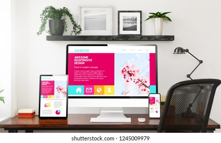awesome responsive design devices collection on black and white home office 3d rendering