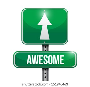 awesome road sign illustration design over a white background