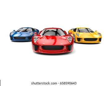 Awesome sports cars - racing - red one leading the race - 3D Illustration