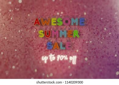awesome summer sale sign 3d illustration