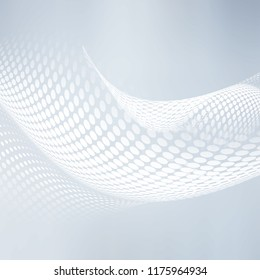 Awesome white halftone waves background. Flowing motion dots  backdrop.