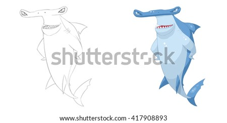 Royalty Free Stock Illustration Of Axe Headed Shark Coloring Book