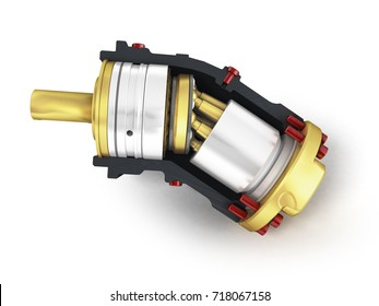 Axial piston hydraulic engine is gold in front 3d render on white background