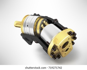 Axial piston hydraulic motor 3d render on gray background