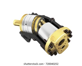Axial piston hydraulic motor 3d render on white background no shadow
