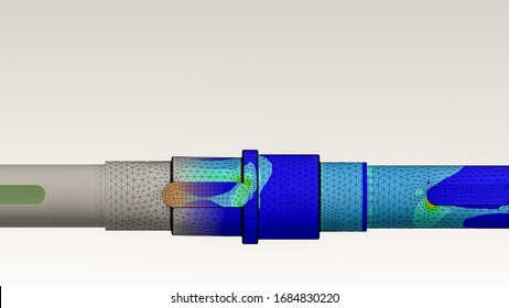 Axle engineering with finite element analysis and transition between geometry, mesh and von mises stress plot
