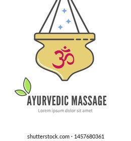 Ayurveda shirodhara treatment logo, illustration. Ayurveda massage with shirodhara symbol. Alternative treatment