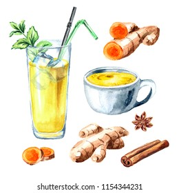 Ayurvedic drink golden coconut milk turmeric iced latte with mint and spicies set. Watercolor hand drawn illustration, isolated on white background
