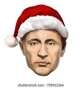 Ayvalik, Turkey - November 2017: Vladimir Putin new year portrait. Illustrated in Turkey by Erkan Atay on November 2017
