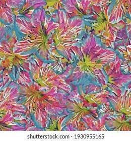 Azaleas.Seamless pattern with flowers. Pattern for print, advertising, web design. Stylization: watercolor.