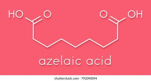 Azelaic acid (nonanedioic acid) molecule. Used in treatment of acne and rosacea. Skeletal formula.