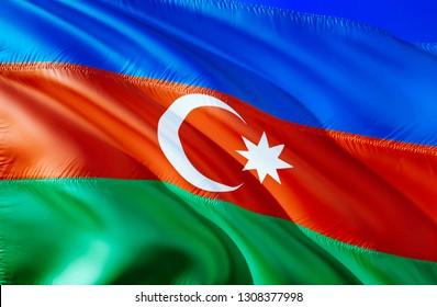 Azerbaijan flag. 3D Waving flag design. The national symbol of Azerbaijan, 3D rendering. National colors and National CIS flag of Azerbaijan for a background. South Caucasus sign on smooth silk