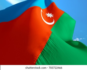 Azerbaijan flag. 3D Waving flag design. Red, blue and green flag. The national symbol of Azerbaijan. Azerbaijan National sign Azerbaijan background. Muslim flag crescent. Star crescent Islamic flags