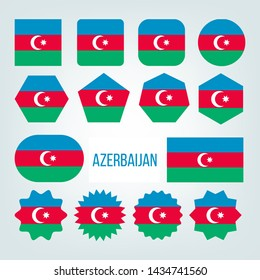 Azerbaijan Flag Collection Figure Icons Set . Blue, Green And Red Color With Crescent And Eight-pointed Star Centered On National Symbol Of Republic Azerbaijan Country. Flat Cartoon Illustration