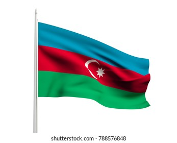 Azerbaijan flag floating in the wind with a White sky background. 3D illustration.