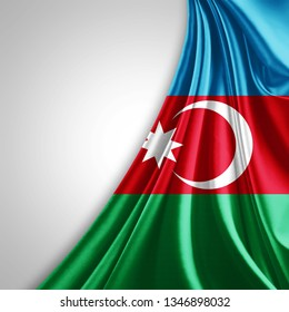 Azerbaijan flag of silk with copyspace for your text or images and White background-3D illustration